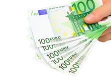 Euro- notas (trajeto de grampeamento) imagens de stock