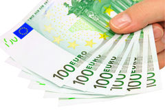 Euro- notas (trajeto de grampeamento) Fotografia de Stock Royalty Free