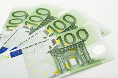 Euro notatki, zamykają up Zdjęcia Royalty Free