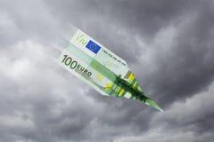 Euro note airplane crashes Royalty Free Stock Photo