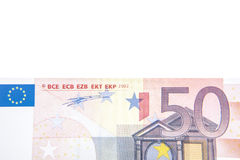 50 euro note background detail. All on white background Royalty Free Stock Photos