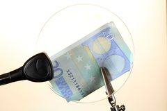 Euro note behind a glass Royalty Free Stock Images