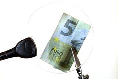 Euro note behind a glass Stock Photos