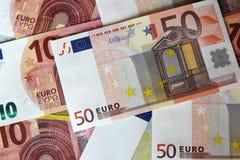 Euro note che formano fondo Fotografie Stock