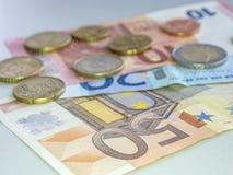 Euro note con la riflessione Fotografia Stock
