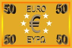 50 euro note 3d symbol cash bill capital business transaction. 50 euro note symbol - logo- business banknote bankroll dough funds finances check payment bucks vector illustration