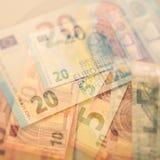 Euro note di carta Cinque, venti e dieci euro Fotografie Stock Libere da Diritti