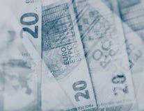 Euro note di carta Venti euro Priorità bassa vaga Fotografia Stock Libera da Diritti
