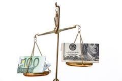 Euro note e dollaro sulle scale Immagini Stock