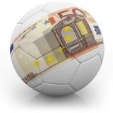 Euro note imprimée sur un football Photographie stock