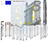 Euro note meltdown. Five Euros with simulated melting at the bottom of the note Royalty Free Stock Images