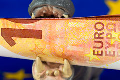 10 Euro note in mouth of a hippo figurine Royalty Free Stock Images