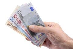 Euro note o fatture in mano maschio Immagini Stock Libere da Diritti