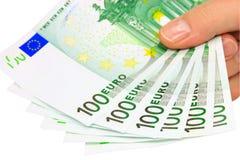Euro note (percorso di residuo della potatura meccanica) Fotografia Stock Libera da Diritti