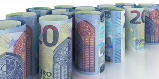20 Euro 2015 Notes Rolls. 20 Euro 2015 Note Rolls - 3d illustration royalty free illustration