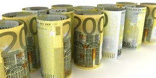200 Euro Notes Rolls. 200 Euro Note Rolls - 3d illustration vector illustration