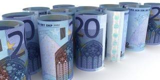 20 Euro Notes Rolls. 20 Euro Note Rolls - 3d illustration royalty free illustration