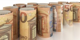50-Euro Notes Rolls. 50-Euro-Note Rolls - 3d illustration stock illustration