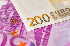 Euro note. View of a euro note 200 and 500 Stock Photography