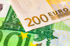 Euro note. View of a euro note 200 and 100 Stock Images