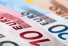 Euro notes. Close-up of various euro notes Royalty Free Stock Photo