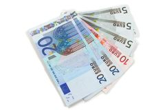 Euro notes. Various euro notes isolated on white Royalty Free Stock Images