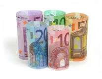 Euro notes. 10, 20, 50, 100 and 500 euro notes on white background Stock Photos
