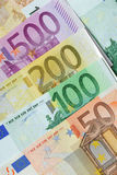 Euro notes. 500, 200, 100 and 50 Royalty Free Stock Photo