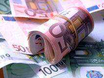 Euro notes. Many euro notes Royalty Free Stock Photo