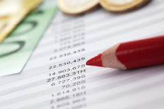 Euro notes and accounting document. Close up Stock Images