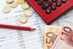 Euro notes and accounting document Royalty Free Stock Images