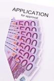 Euro notes and application (English). Many euro notes and application (English Stock Photo