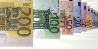 Euro Notes Array focus. 3d visualization vector illustration