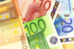 Euro notes as background. European currency money. Macro details of Euro notes as background Royalty Free Stock Photography