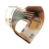50 Euro Notes as a shape of heart. 3d illustration vector illustration
