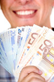 Euro notes avec le grand sourire Photo libre de droits