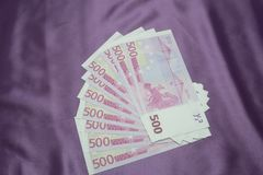 500 Euro notes background texture.  Royalty Free Stock Images