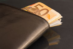 Euro notes in a black leather wallet Stock Photos
