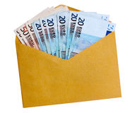 Euro notes in brown / yellow envelope, isolated. European currency in brown (yellow) business envelope. Isolated on white Stock Image