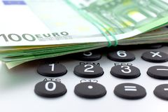 Euro Notes with calculator Royalty Free Stock Photos