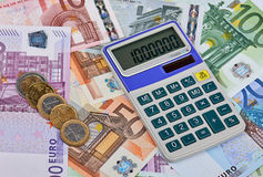 Euro Notes with Calculator Stock Image