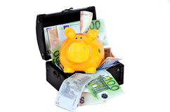 Euro notes cash piggy Stock Photography
