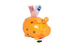Euro notes cash piggy Stock Photo