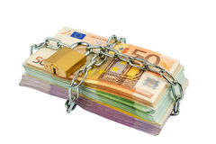Euro notes with chain and padlock Royalty Free Stock Photo
