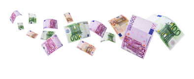 Euro notes -clipping path. Euro notes flying way isolated on white with clipping path Stock Photos