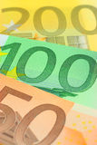Euro notes closeup Royalty Free Stock Photos