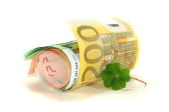 Euro notes with Clover Stock Image