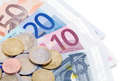 Euro notes and coins Royalty Free Stock Photos