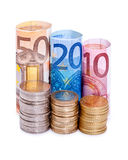 Euro notes and coins. Isolated on white Royalty Free Stock Images