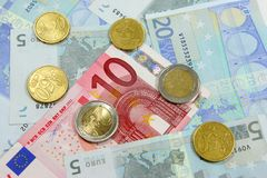 Euro notes and coins. Various euro notes and coins for background Royalty Free Stock Photo